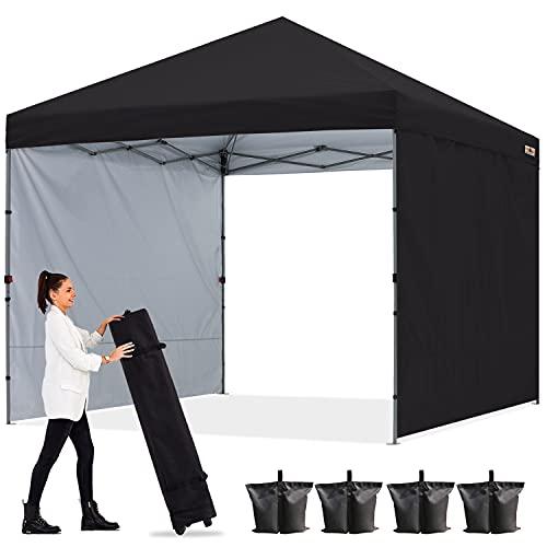 ABCCANOPY 1.8x1.8M Pavillon Outdoor Easy Pop-up-Überdachungszelt mit 2 Seitenwände,Schwarz