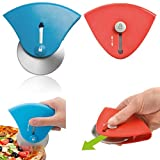 ECO-FUSED Mini Retractable Pizza Cutter Wheel - Set of 2 - Non-Slip Handle - Super Sharp Blade - Precise Cuts - Easy to Use and Store - Dishwasher Safe - for Pizzas, Cookies, Pancakes, etc.