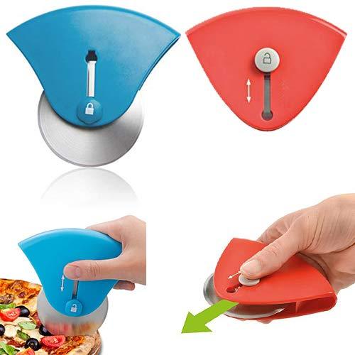 Eco-Fused mini-intrekbaar Pizza Snijwiel - Set van 2 - Antisliphandgreep - Super scherp mes - Nauwkeurige bezuinigingen - Gemakkelijk te gebruiken en op te slaan - Vaatwasserbestendig - Voor pizza's, koekjes, pannenkoeken, enz.