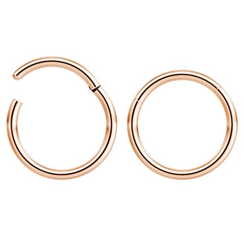 Bling Piercing 2pc 1mm 18g Hinged Clicker Captive Bead Ring Rose Gold 8mm Helix Earring Nose Hoop Rook Cartilage Tragus Lip Septum Forward Eyebrow Ear Lobe Nostril Rings Seamless Surgical Steel
