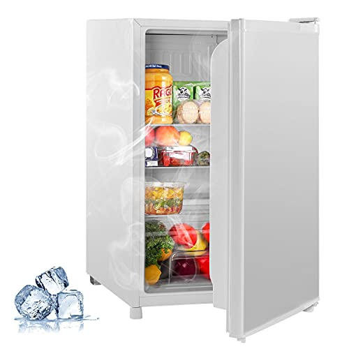 HOMROM Compact Refrigerator, 4.5 Cu.Ft ,Low Noise Mini Fridge with freezer, Single Reversible Door, Energy Saving, Removable Glass Shelves, Low-frost Mini Fridge for Bedroom, Office, RV or Dorm with Crisper Drawer