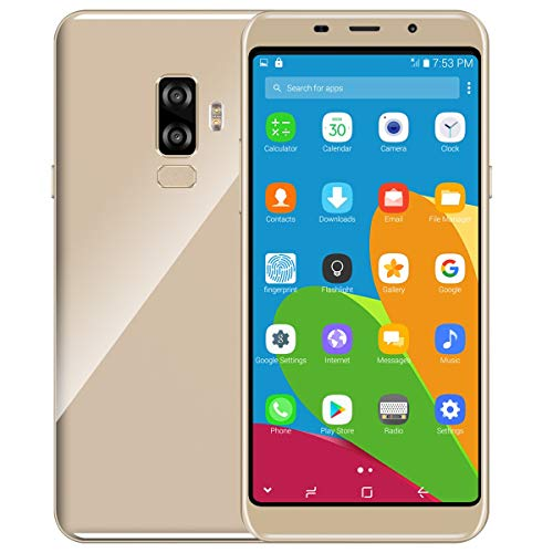 X4 Unlocked Smartphone 5.7' IPS Display Curved Glass Android 6.0 MTK6580 Quad-Core 1.3GHz Processor 16GB ROM Dual Sim Slot Dual Camera WiFi GPS G-Sensor 2G 3G Network Phone (Gold)