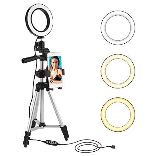 Leyeet LED Ringlicht 5.7 Zoll Mit Stativhalterung Mini Kameralicht mit Tischlampe mit Halterung für Handy mit 360°-Rotation mit 3 Modi und 11 Helligkeitsstufen für Video und Schminke auf Youtube