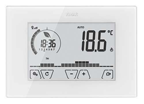 Vimar 02907 Termostato WiFi da Parete Programmabile, Touch Screen, per Controllo e Gestion Locale, da App e Vocale, Bianco
