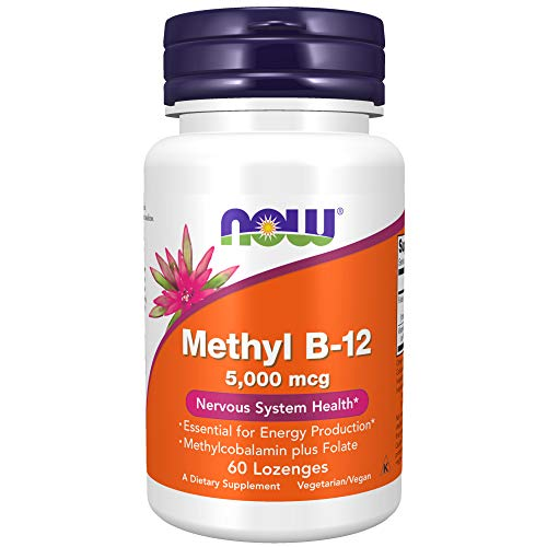 NOW Supplements, Methyl B-12 (Methylcobalamin) 5,000 mcg, Nervous System Health*, 60 Lozenges