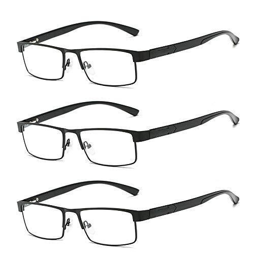 panthem 3 Pack Lesebrille Herren Rechteck Rahmen Metall Ultraleicht Lesebrillen, Vollrand Leicht Brille, Sehhilfe Augenoptik Brille Lesehilfe für Damen von 1.0 1.5 2.0 2.5 3.0 3.5 4.0