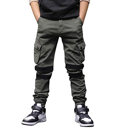 CAMLAKEE Hosen für Jungen, Kinder Cargohose Slim Fit, Joggers mit Verstellbarer Taille, Armeegrün, 116 / Größe 8