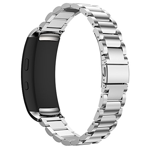 Maxjoy Compatible with Samsung Gear Fit 2 Band,Watch Bands Premium Stainless Steel Bracelet Metal Watch Strap with Magnet Clasp Replacement for Samsung Gear Fit2 SM-R360 Smart Watch,Silver