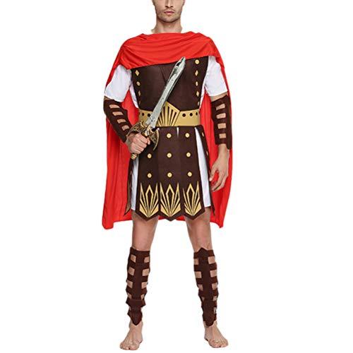 BESTOYARD Ropa de Gladiador Romano Antiguo de Halloween Ropa de Gladiador Romano Antiguo Disfraces Disfraces Ropa para Adultos Tamaño XL