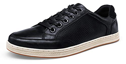 JOUSEN Men's Sneakers Leather Classic Casual Oxford Shoes (10,Brown)