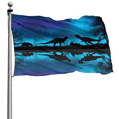 Hermoso paisaje naturaleza dinosaurios silueta bandera 4x6 pies gran bandera de poliéster cosida exterior bandera estándar colgante