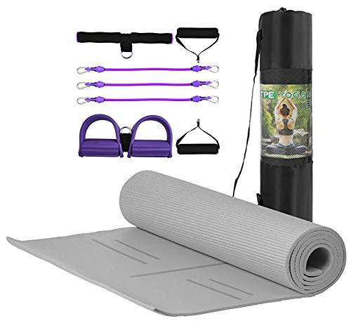 MJ FITNESS - Tappetino Antiscivolo Yoga Fitness in TPE Ecologico e Imbottito, 183cm x 80cm x 8mm, con Borsa e Attrezzo Elastico Multiuso per Ginnastica e Palestra (Grigio)