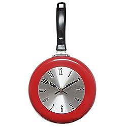 SoundsBeauty Home Ornament, Creative Frying Pan Design Wall Clock Restaurant Kitchen Wall Hanging Decor Red