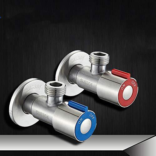 Roestvrij staal koud en warme driehoek valve water heater DN15 stopcontact valve 2 stuks set G1 / 2 zilver