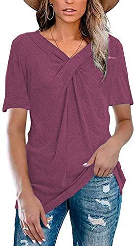 Ropa Casual para Mujer Camiseta Holgada De Manga Corta con Cuello En V De Color SóLido