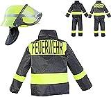 Nerd Clear Feuerwehr Kostüm Set für Kinder | 3-teilig: Helm, Jacke, Hose | ideal für Karneval & Fasching | Jungen & Mädchen |: Größe: 104