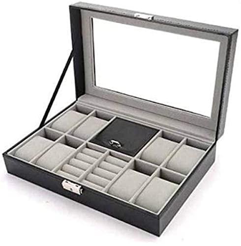 T.T-Q Caja de joyería de PU de 6 dígitos caja de joyería Cajas para relojes caja de almacenamiento de caja de joyería pendientes anillo collar caja de almacenamiento regalo de cumpleaños 30*20*8 cm