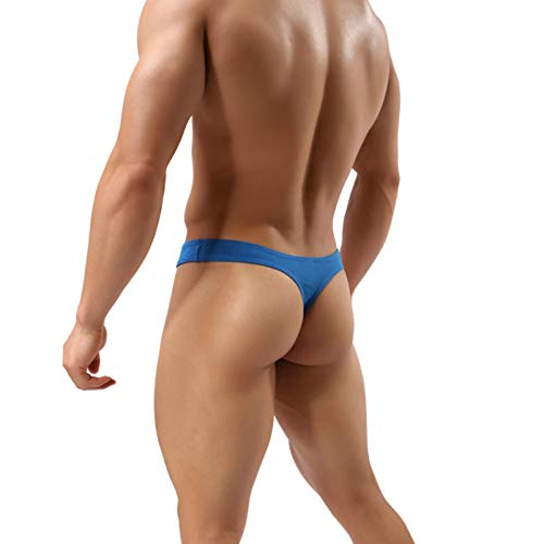 MuscleMate Hot Men's Thong Underwear, No Visible Lines, Men's Thong G-String Undies. (M, Blue)
