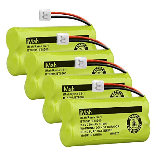 iMah BT800 BT8300 750mAh Cordless Phone Batteries Compatible with VTech BT184342/BT284342 BT18433/BT28433 CS6209 CS6219 CS6229 DS6121 DS6221 Motorola L601M L602 L603M L701 L702M L903 L513CBT, 4-Pack
