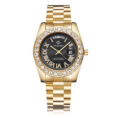 BZN Smart Watch Case 6866 Fashion Life - Reloj de cuarzo con banda de acero dorado (color: negro)