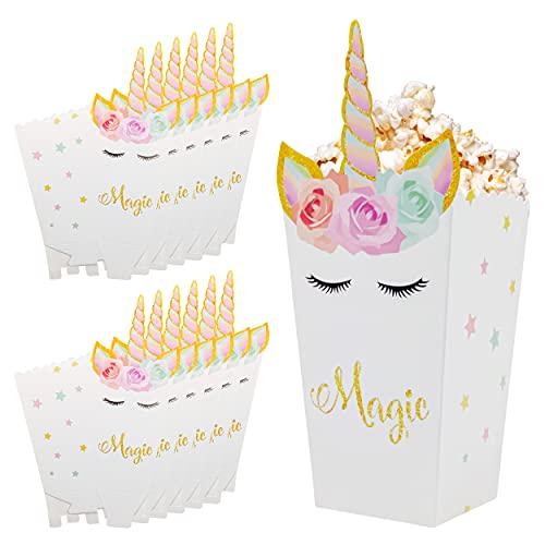 INHEMING 12 Piezas Cajas de Palomitas de Maíz,Unicornio Contenedor de Dulces para Los Bocados del Partido, Los Dulces, Las Palomitas y Los Regalos