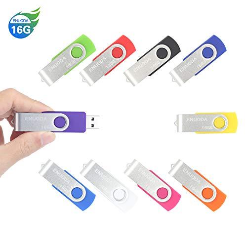 10 Piezas 16GB USB 2.0 ENUODA Pendrive Multicolor Pivote Memorias Giratoria Plegable Diseño de Cierre (10 Colores Mezclados)