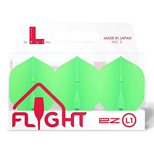 Lstyle Dart Flights: L1 EZ Standardform – Universal – integrierter Champagnerring – Neon Grün