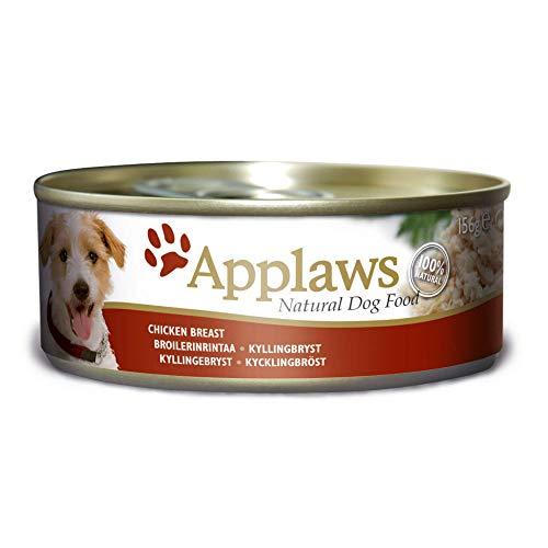 Applaws 100 Prozent natürliche nasse Hund Futter, Hühnerbrust in Brühe 156 g Zinn (Packung mit 12)
