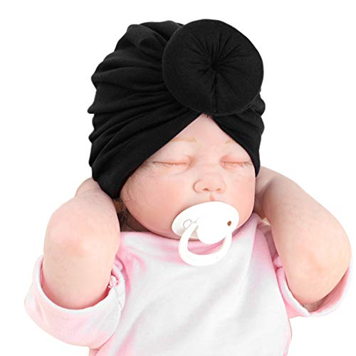 babysbreath17 1-2 Ans Bébé Tout-Petit Coton Turban Chapeau Fille Tout-Petits garçons noueuse Chapeau Donut Turban Bow Cap Noir 19.5 * 2cm,Height 15cm