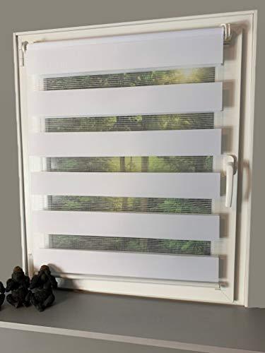 Gardinen Senay Klemmfix Duorollo, Doppelrollo mit verstellbaren Klemmträgern, Breite: 80 cm/Länge: 160 cm, Farbe: weiß