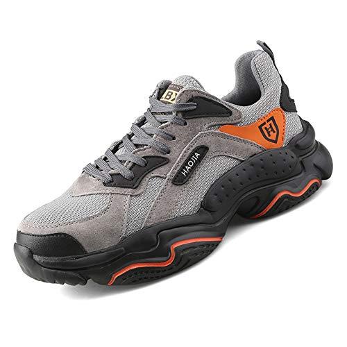 Zapatillas de Seguridad S3 Hombre Ligero Comodo Zapatos Trabajo con Punta de Acero Botas Protectoras de Senderismo