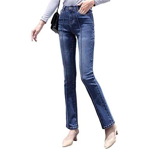 Katenyl Jeans Bootcut Lavados elásticos de otoño de Tiro Alto para Mujer, Jeans Ajustados Acampanados de Mezclilla con Retazos de Mezclilla Corte de Bota XL