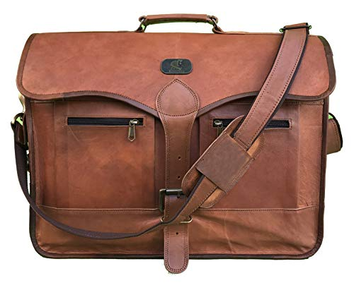 18' Vintage Handmade Leather Messenger Bag Laptop Briefcase Computer Satchel Bag for Men