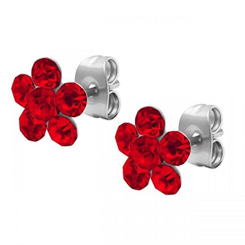 1 par de pendientes con diseño de flor Ohstecker Blümchen pedrería azul y colour verde y blanco Colour rosa Rojo rojo