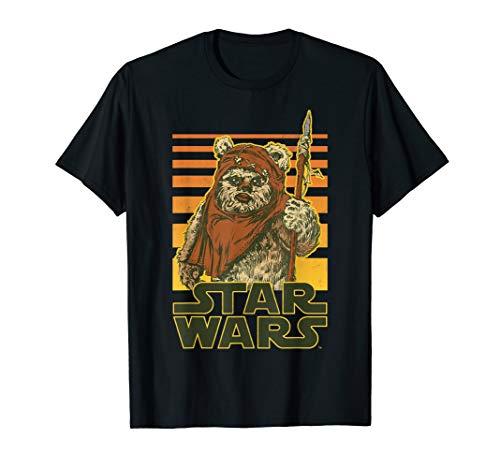 Star Wars Wicket Retro Ewok Sunset Halftone Graphic T-Shirt