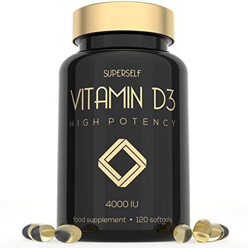 Vitamin D 4000 IU - 120 Softgel Capsules - High Strength Vitamin D3 - VIT D3 Supplement Tablets for Bones, Teeth, Immune System - Easy to Swallow High Absorption Vitamin D Cholecalciferol 4000IU
