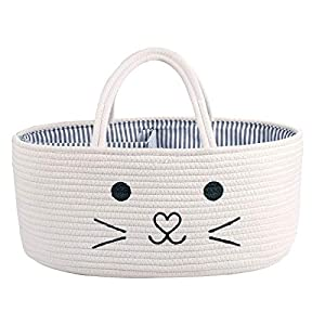 LEEPES Baby Diaper Caddy Organizer – Stylish Rope Nursery Storage Bin – 100% Cotton Canvas Portable Diaper Storage Basket for Changing Table & Car – Top Baby Shower Gift (Cat)
