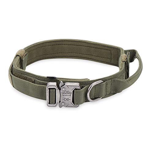 OPKL Pet Heavy Duty Handle Nylon Military Tactical Dog Training Collar Adjustable Leads(L,Army Green)