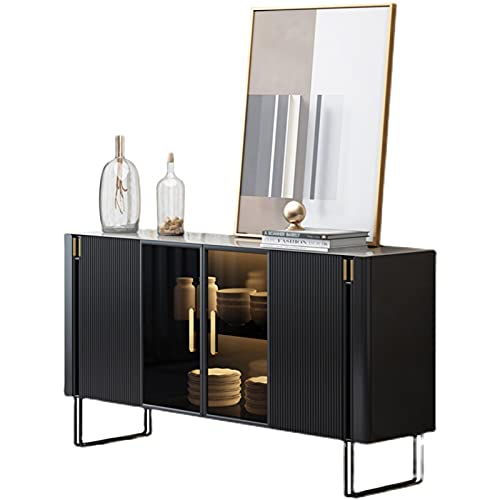 QINJIE Buffet Credenza, Consolle Divano Tavolo Credenza Mobiletto, con 1 vetrinetta nel Mezzo, per Corridoio, Ingresso, Soggiorno, Cucina