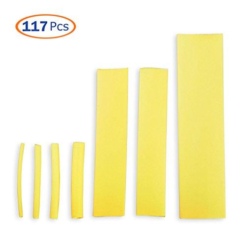 Heat Shrink Tubing Kit, Conwork Assorted 2:1 Heat Shrinking Tube Wire Wrap Cable Sleeve Set (117Pcs, 7 Size) -Yellow