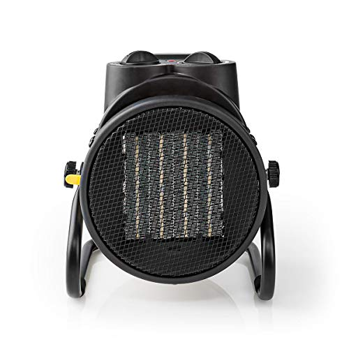 NEDIS Calefactor de Aire de Diseño Industrial Calefactor de Aire Cerámico de Diseño Industrial - Termostato - 3 Configuraciones - 2000 W - Asa de Transporte - Negro/Amarillo Amarillo 1.50 m