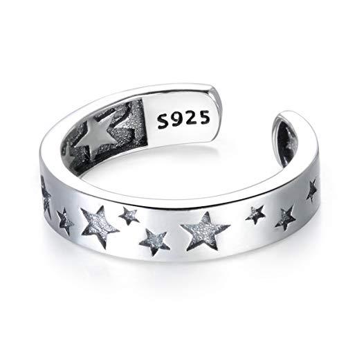 Guzhile Fashion Jewelry - Anillo ajustable de plata de ley 925 para el pulgar, diseño de estrella y eternidad, para mujeres y hombres
