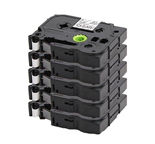 5x Label Tape / Nastro Laminato per BROTHER P-Touch TZe 325 / TZ 325 | bianco sur nero / 9mm x 8m | compatibile per Brother P-Touch