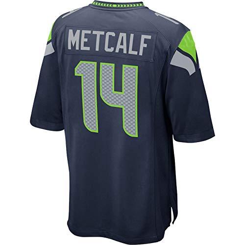 THDB Custom American Football Rugby Trikots DK Seattle NO.14 Seahawks Metcalf Game Player Jersey atmungsaktiv Outdoor Casual T-Shirts für Herren - Navy