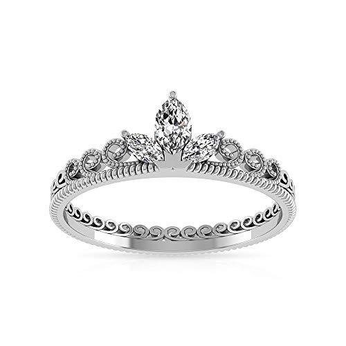 Anillo de compromiso con corona de diamante certificado IGI de la marquesa de 0,27 ct, oro macizo de 14 k con cuentas grabadas, anillo de novia, filigrana apilable, 14K Oro amarillo, Size:EU 58
