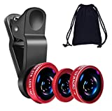 LUZWE 3in1 Lens Kit for Mobile Phone 0.67X-Wide Angle 180-Degree Fish Eye 10X-Macro Lens Small Object Shot Lens Multi-Colour Universal Clip Fit All Smartphone, iOS Devices, and Tablets
