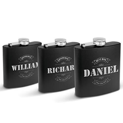 Krezy Case Set of 3 Wedding Favor Customized Flasks Set Personalized bestman groomsmen praposal Gifts, Engraved and Monogrammed Gift