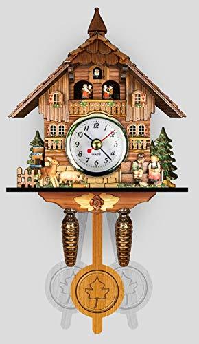 ZJWD Mini-Kuckucksuhr, Traditionelle Schwarzwälder Chaletuhr, Geschnitzte Uhr Quarzwanduhr Handgefertigte Holzuhr, 129 X 231 X 55 Mm,I