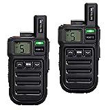 Retevis RB615 Walkie Talkie PMR 446 Mini 16 Canales Pantalla LCD Walkies Profesionales con Función de Vibración/Clonación Inalámbrica (Negro, 1 Par)