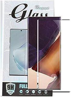 لهاتف سامسونج جالاكسي نوت 20 الترا اسكرين زجاج 5 دي لصق كامل مع فتحه للبصمه بتغطي الكيرف بالكامل - اسود شفاف